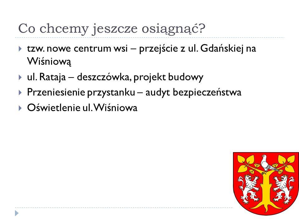 Co chcemy jeszcze osiągnąć? tzw. nowe centrum wsi – przejście z ul. Gdańskiej na Wiśniową ul. Rataja – deszczówka, projekt budowy Przeniesienie przyst