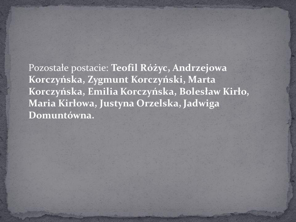 Pozostałe postacie: Teofil Różyc, Andrzejowa Korczyńska, Zygmunt Korczyński, Marta Korczyńska, Emilia Korczyńska, Bolesław Kirło, Maria Kirłowa, Justy