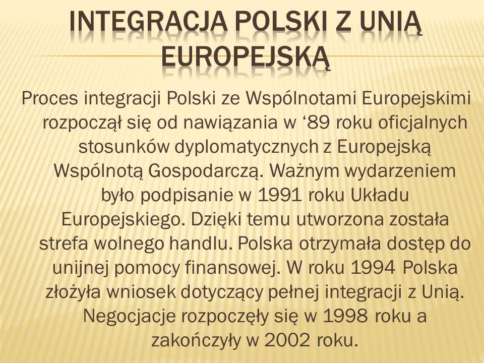 Proces integracji Polski ze Wspólnotami Europejskimi rozpoczął się od nawiązania w 89 roku oficjalnych stosunków dyplomatycznych z Europejską Wspólnotą Gospodarczą.