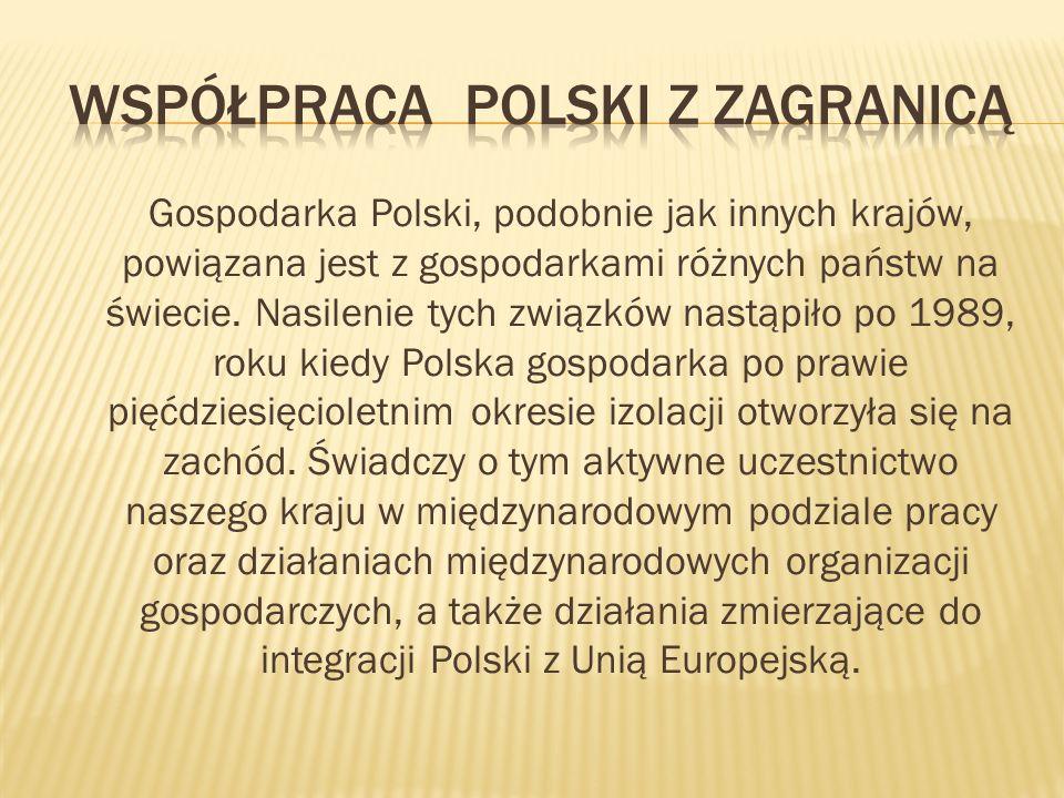 Gospodarka Polski, podobnie jak innych krajów, powiązana jest z gospodarkami różnych państw na świecie.
