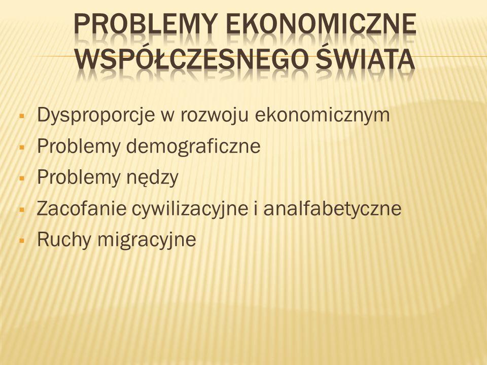 Dysproporcje w rozwoju ekonomicznym Problemy demograficzne Problemy nędzy Zacofanie cywilizacyjne i analfabetyczne Ruchy migracyjne