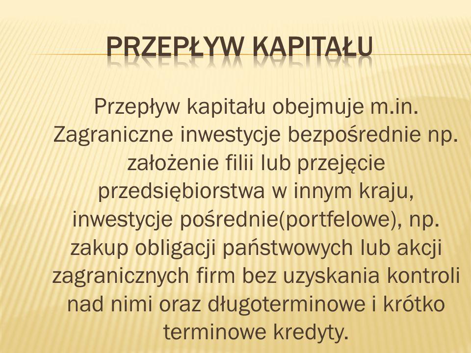 Przepływ kapitału obejmuje m.in.Zagraniczne inwestycje bezpośrednie np.