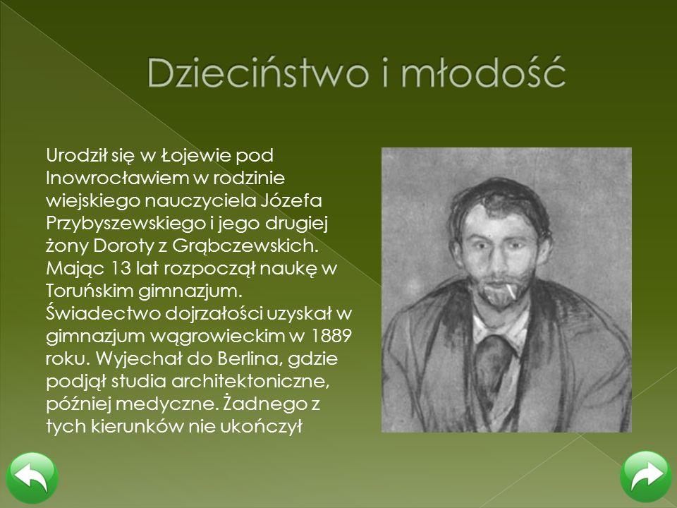 Urodził się w Łojewie pod Inowrocławiem w rodzinie wiejskiego nauczyciela Józefa Przybyszewskiego i jego drugiej żony Doroty z Grąbczewskich. Mając 13