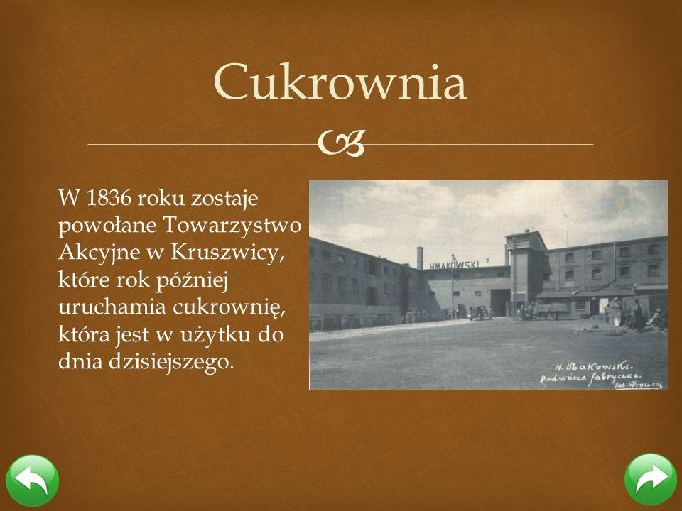 W 1836 roku zostaje powołane Towarzystwo Akcyjne w Kruszwicy, które rok później uruchamia cukrownię, która jest w użytku do dnia dzisiejszego. Cukrown