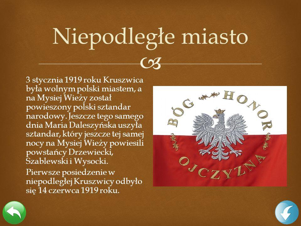 3 stycznia 1919 roku Kruszwica była wolnym polski miastem, a na Mysiej Wieży został powieszony polski sztandar narodowy. Jeszcze tego samego dnia Mari
