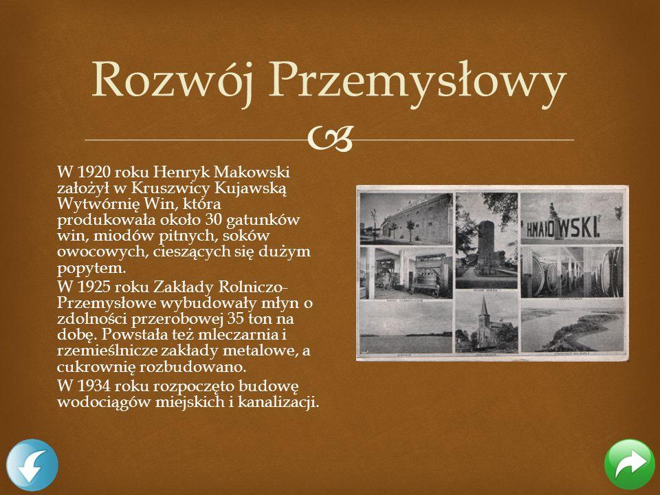 W 1920 roku Henryk Makowski założył w Kruszwicy Kujawską Wytwórnię Win, która produkowała około 30 gatunków win, miodów pitnych, soków owocowych, cies