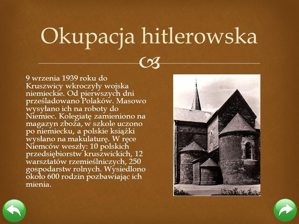 9 wrzenia 1939 roku do Kruszwicy wkroczyły wojska niemieckie. Od pierwszych dni prześladowano Polaków. Masowo wysyłano ich na roboty do Niemiec. Koleg
