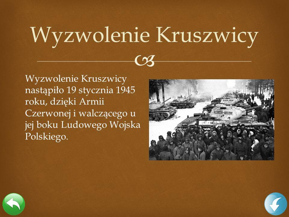 Wyzwolenie Kruszwicy nastąpiło 19 stycznia 1945 roku, dzięki Armii Czerwonej i walczącego u jej boku Ludowego Wojska Polskiego. Wyzwolenie Kruszwicy