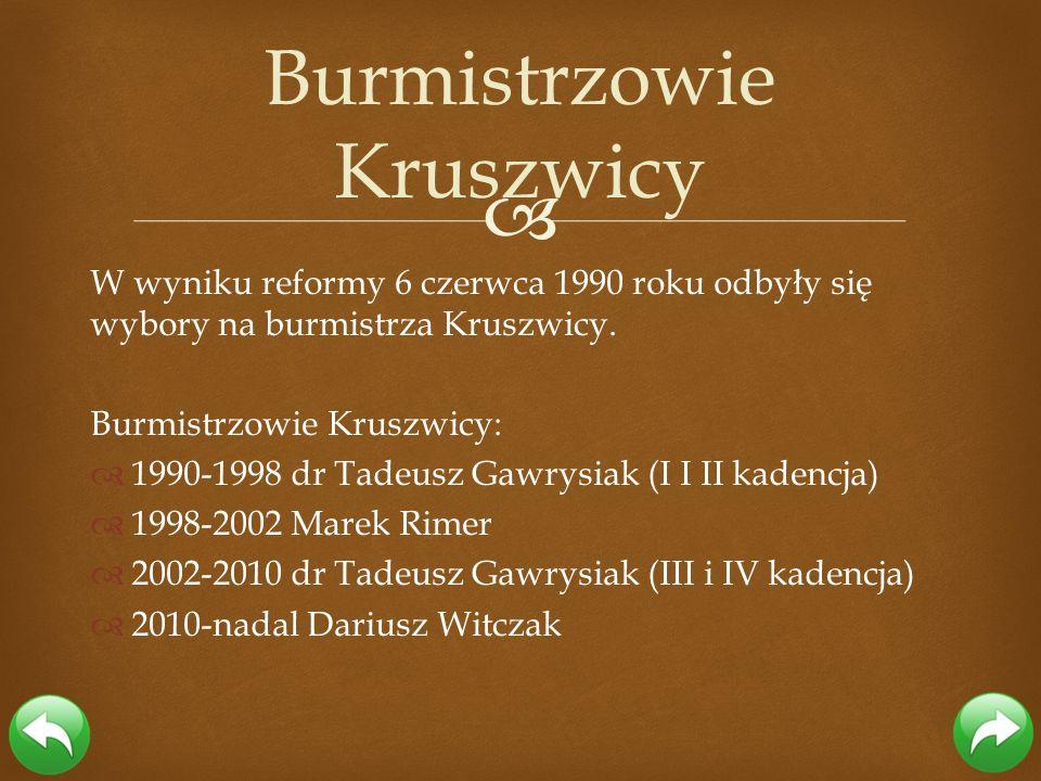 W wyniku reformy 6 czerwca 1990 roku odbyły się wybory na burmistrza Kruszwicy. Burmistrzowie Kruszwicy: 1990-1998 dr Tadeusz Gawrysiak (I I II kadenc