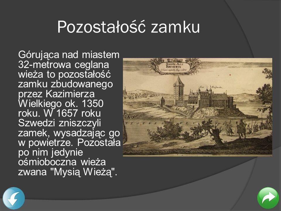 Pozostałość zamku Górująca nad miastem 32-metrowa ceglana wieża to pozostałość zamku zbudowanego przez Kazimierza Wielkiego ok. 1350 roku. W 1657 roku