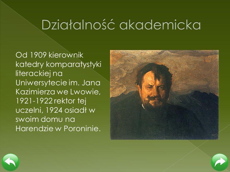 Od 1909 kierownik katedry komparatystyki literackiej na Uniwersytecie im. Jana Kazimierza we Lwowie, 1921-1922 rektor tej uczelni, 1924 osiadł w swoim