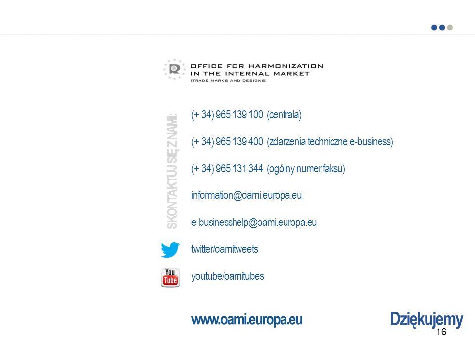 Dziękujemy (+ 34) 965 139 100 (centrala) (+ 34) 965 139 400 (zdarzenia techniczne e-business) (+ 34) 965 131 344 (ogólny numer faksu) information@oami
