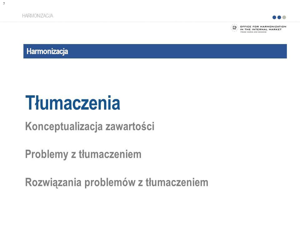 Harmonizacja Tłumaczenia HARMONIZACJA Konceptualizacja zawartości Problemy z tłumaczeniem Rozwiązania problemów z tłumaczeniem 7