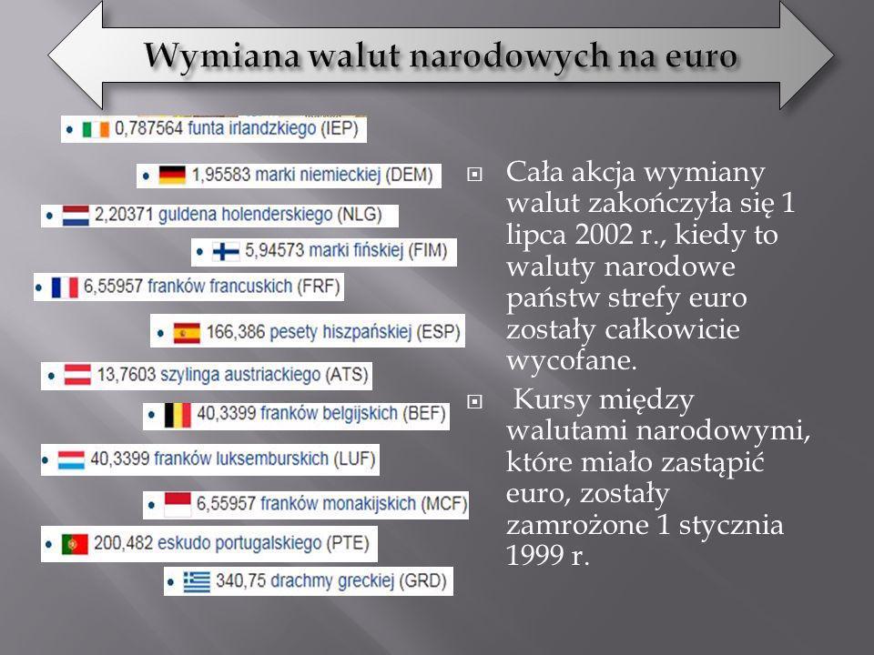 Cała akcja wymiany walut zakończyła się 1 lipca 2002 r., kiedy to waluty narodowe państw strefy euro zostały całkowicie wycofane. Kursy między walutam