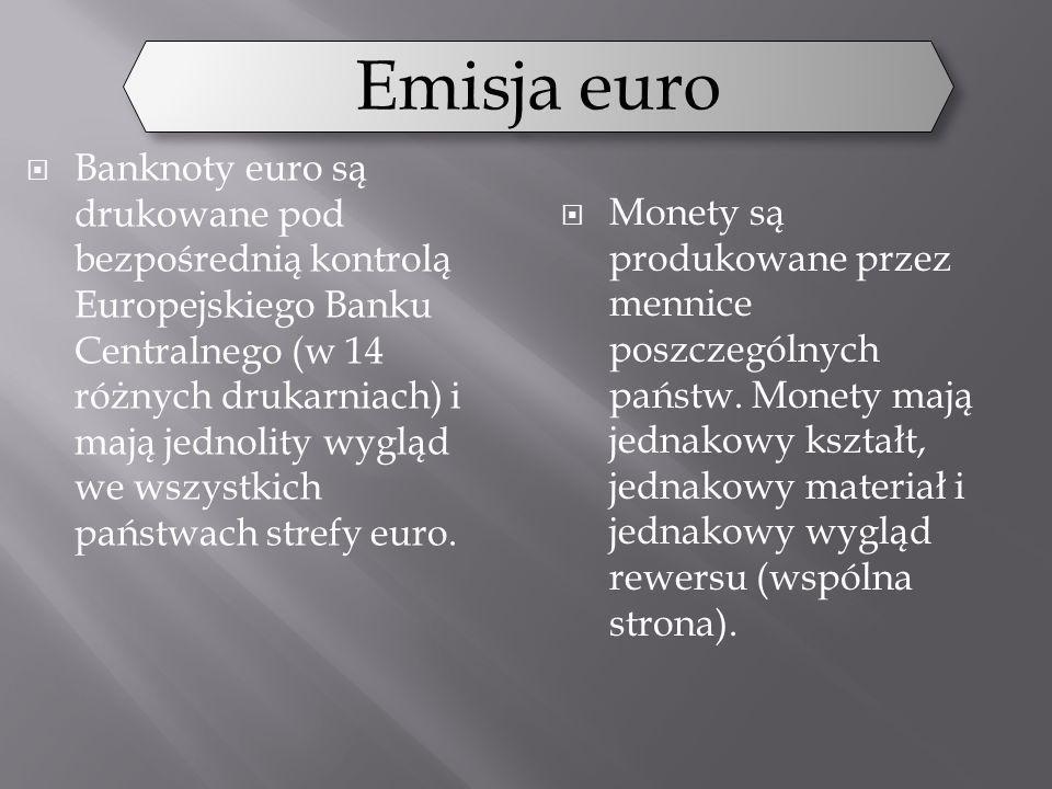 Banknoty euro są drukowane pod bezpośrednią kontrolą Europejskiego Banku Centralnego (w 14 różnych drukarniach) i mają jednolity wygląd we wszystkich