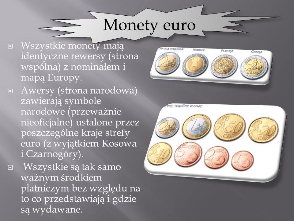 Wszystkie monety mają identyczne rewersy (strona wspólna) z nominałem i mapą Europy. Awersy (strona narodowa) zawierają symbole narodowe (przeważnie n