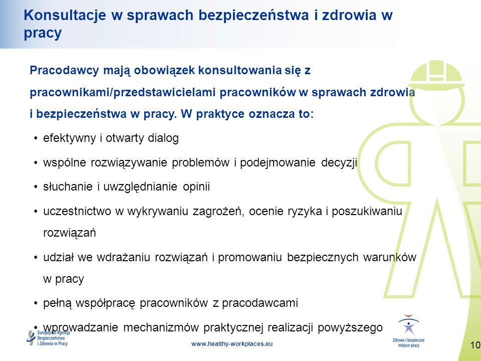 10 www.healthy-workplaces.eu Konsultacje w sprawach bezpieczeństwa i zdrowia w pracy Pracodawcy mają obowiązek konsultowania się z pracownikami/przeds