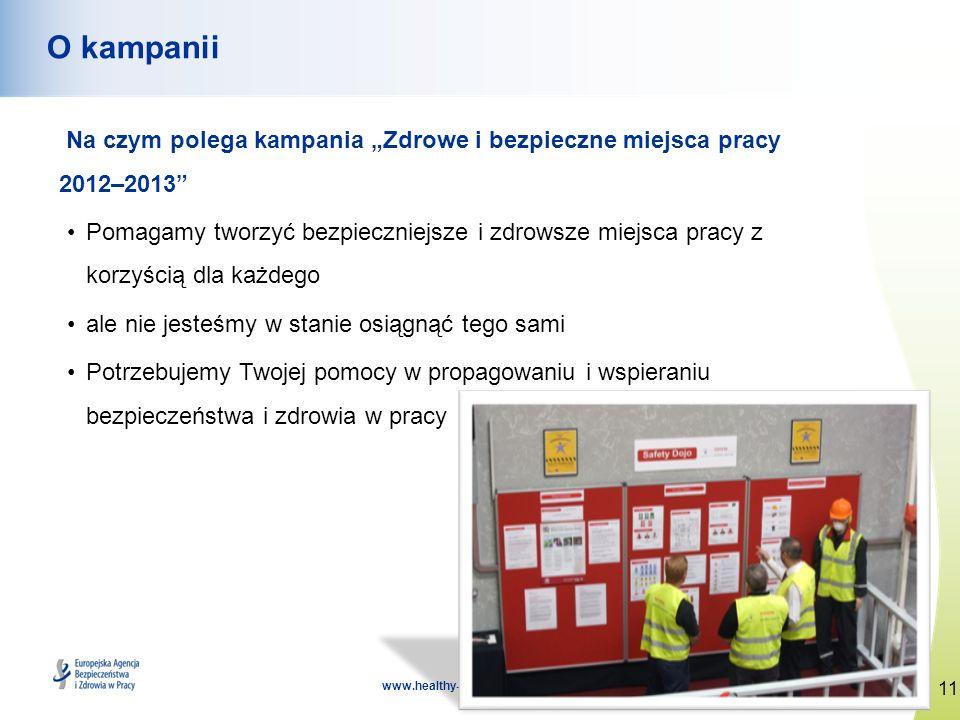 11 www.healthy-workplaces.eu O kampanii Na czym polega kampania Zdrowe i bezpieczne miejsca pracy 2012–2013 Pomagamy tworzyć bezpieczniejsze i zdrowsz