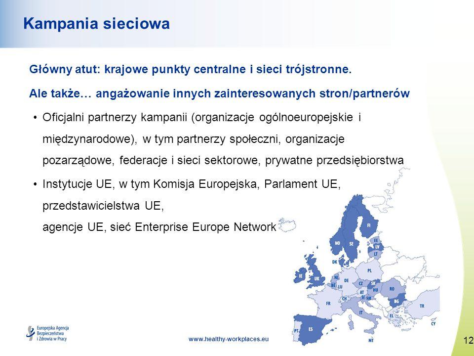 12 www.healthy-workplaces.eu Kampania sieciowa Główny atut: krajowe punkty centralne i sieci trójstronne. Ale także… angażowanie innych zainteresowany
