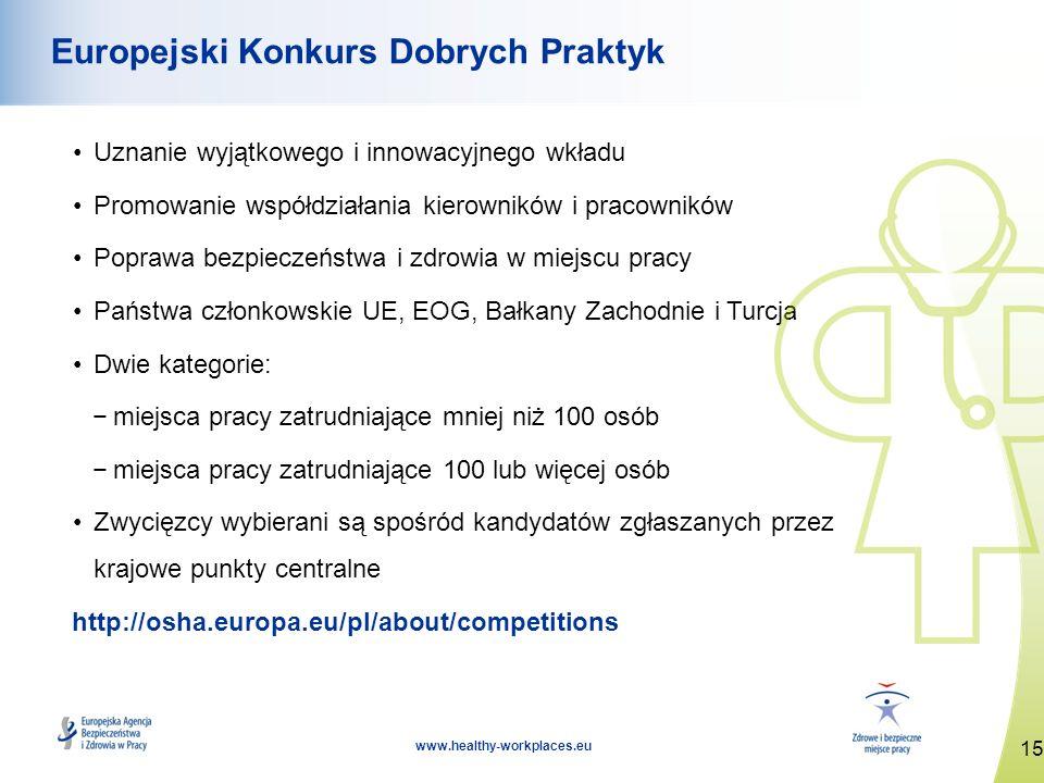 15 www.healthy-workplaces.eu Europejski Konkurs Dobrych Praktyk Uznanie wyjątkowego i innowacyjnego wkładu Promowanie współdziałania kierowników i pra