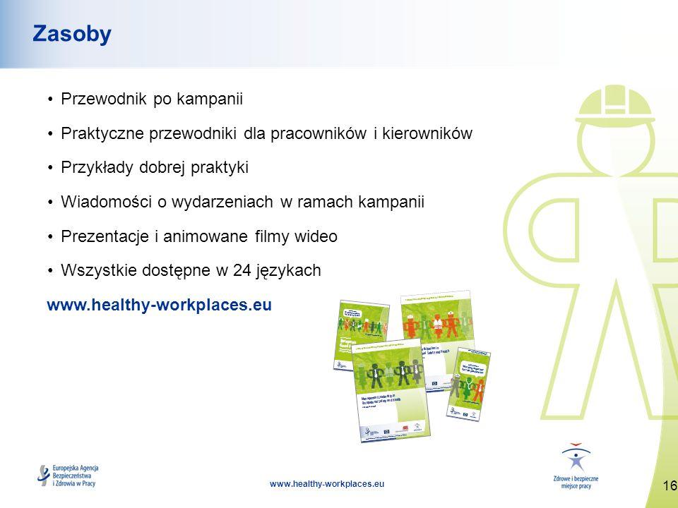 16 www.healthy-workplaces.eu Zasoby Przewodnik po kampanii Praktyczne przewodniki dla pracowników i kierowników Przykłady dobrej praktyki Wiadomości o