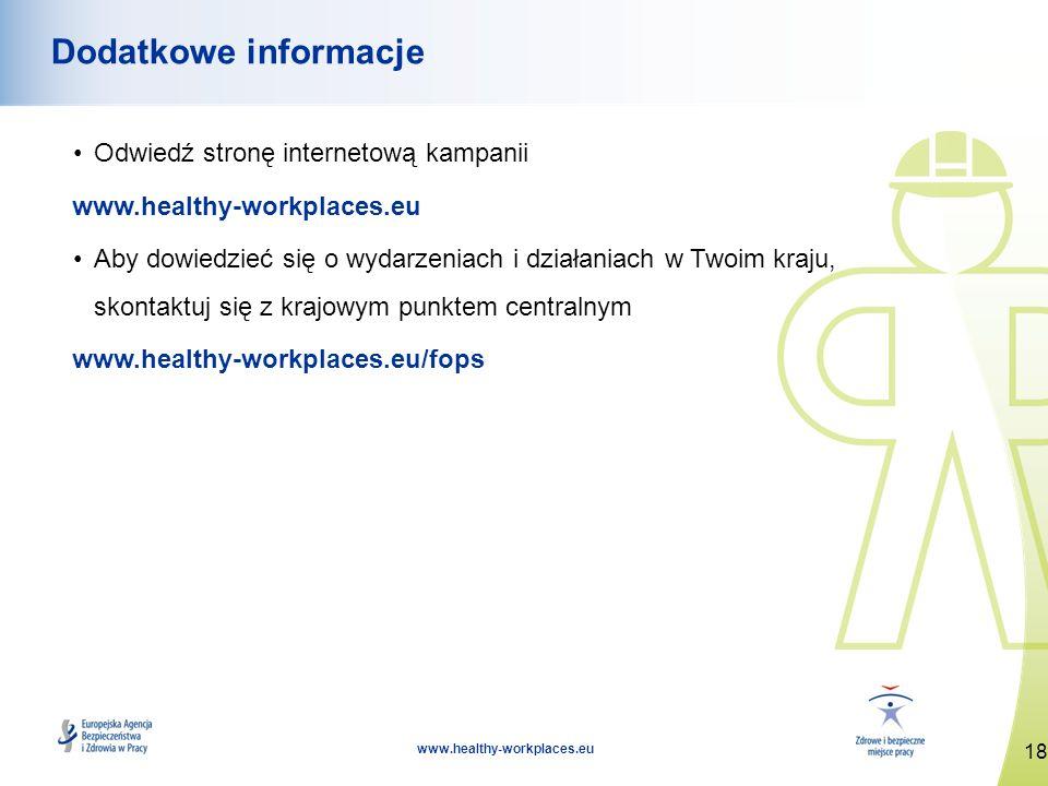 18 www.healthy-workplaces.eu Dodatkowe informacje Odwiedź stronę internetową kampanii www.healthy-workplaces.eu Aby dowiedzieć się o wydarzeniach i dz