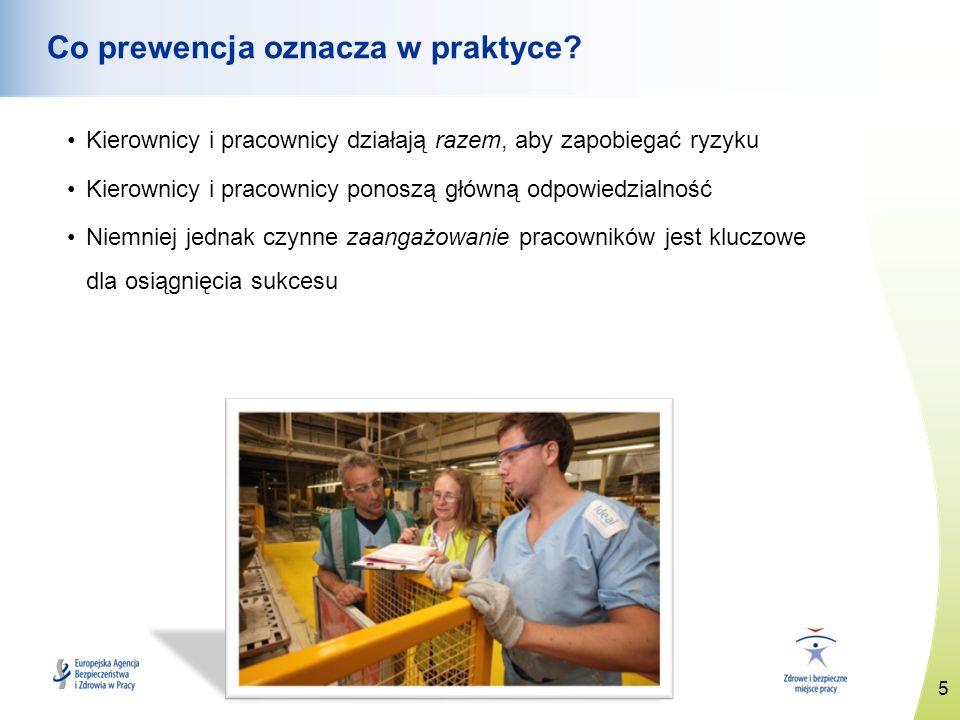 6 www.healthy-workplaces.eu Podstawowe zasady zapobiegania ryzyku Unikanie ryzyka Ocena ryzyka, którego nie da się uniknąć Zwalczanie ryzyka u źródła Dostosowanie pracy do osoby Dostosowanie do postępu technicznego Wymiana elementów niebezpiecznych na bezpieczne lub bezpieczniejsze Opracowanie spójnej ogólnej polityki prewencyjnej Priorytetowe traktowanie zbiorowych środków ochronnych w stosunku do środków indywidualnych Przekazywanie pracownikom odpowiednich instrukcji