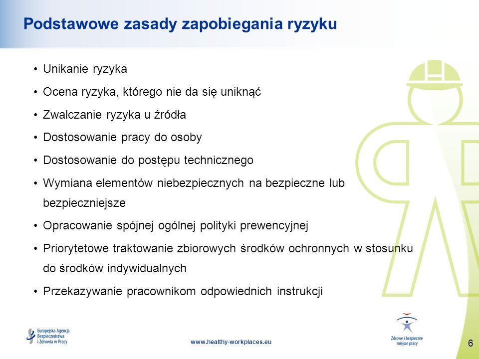 6 www.healthy-workplaces.eu Podstawowe zasady zapobiegania ryzyku Unikanie ryzyka Ocena ryzyka, którego nie da się uniknąć Zwalczanie ryzyka u źródła