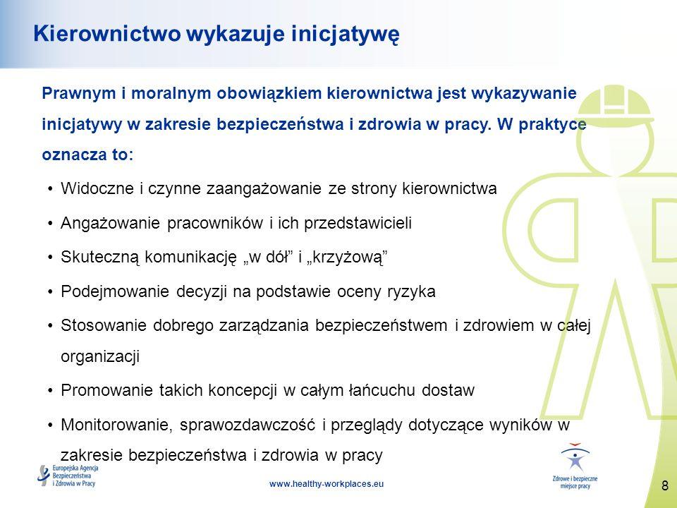 8 www.healthy-workplaces.eu Kierownictwo wykazuje inicjatywę Prawnym i moralnym obowiązkiem kierownictwa jest wykazywanie inicjatywy w zakresie bezpie