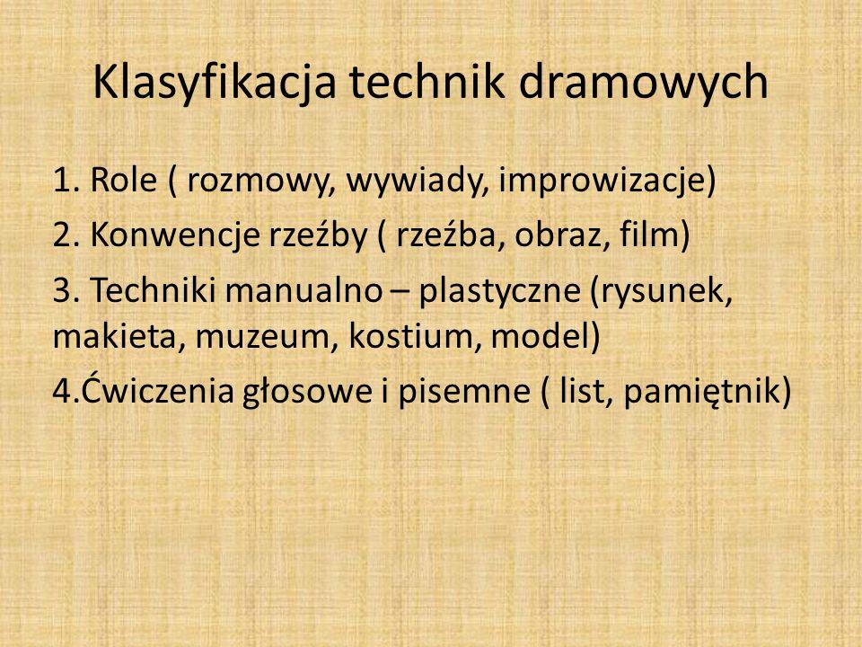 Klasyfikacja technik dramowych 1.Role ( rozmowy, wywiady, improwizacje) 2.