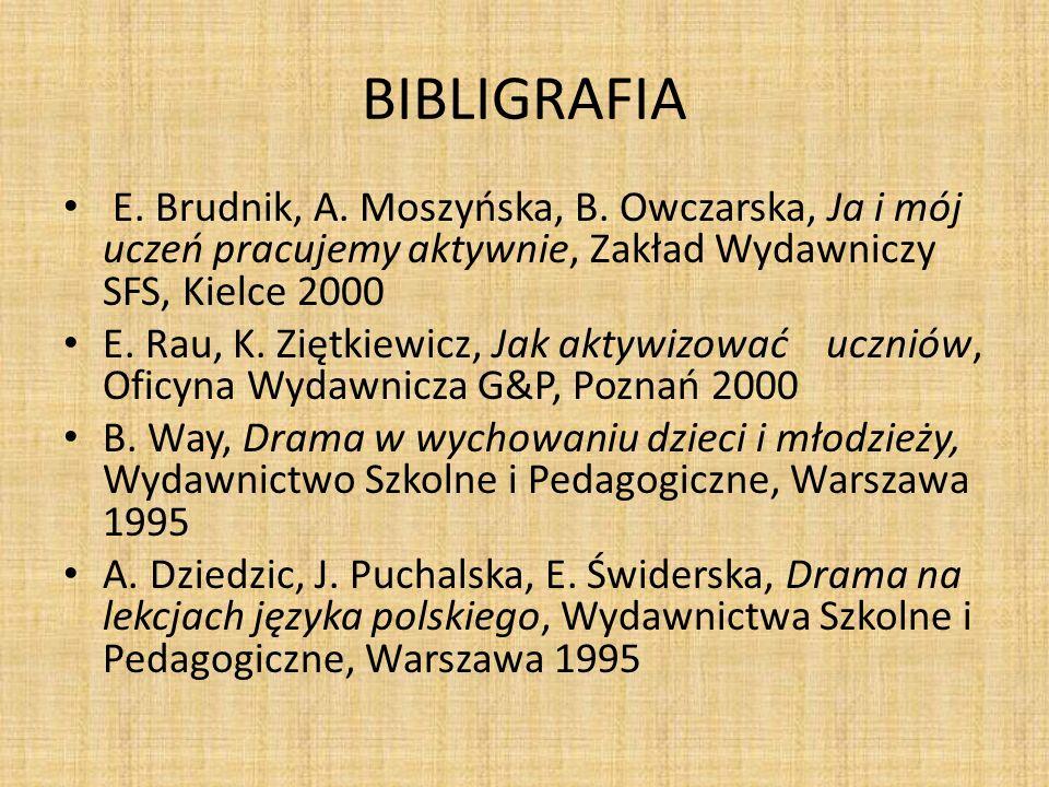 BIBLIGRAFIA E.Brudnik, A. Moszyńska, B.
