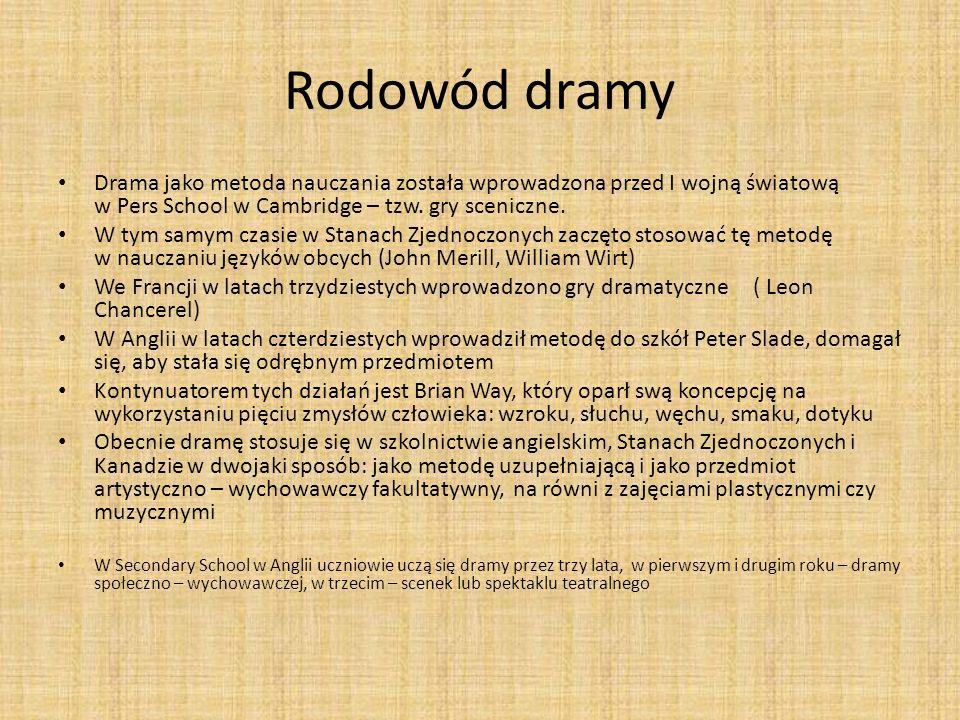 Rodowód dramy Drama jako metoda nauczania została wprowadzona przed I wojną światową w Pers School w Cambridge – tzw.