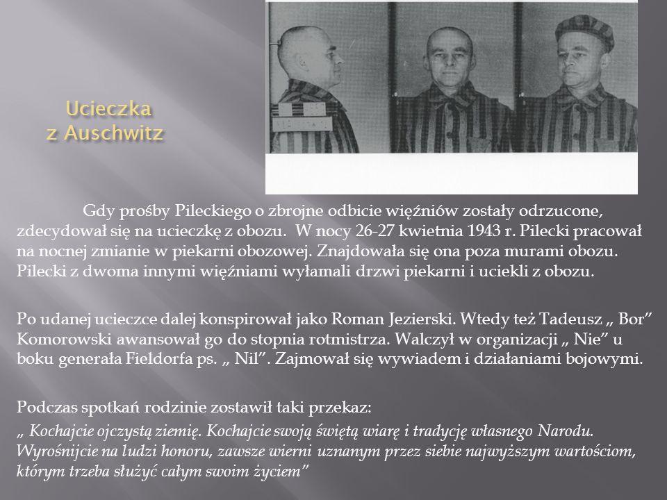 Dzia ł alno ść w obozie Pilecki przybywał w obozie 2 lata i 7 miesięcy. W tym czasie zorganizował w obozie ruch oporu skupiający około 100 osób, pisał