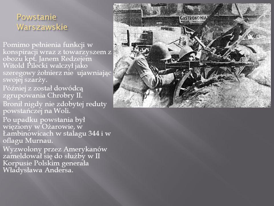 Ucieczka z Auschwitz Ucieczka z Auschwitz Gdy prośby Pileckiego o zbrojne odbicie więźniów zostały odrzucone, zdecydował się na ucieczkę z obozu. W no