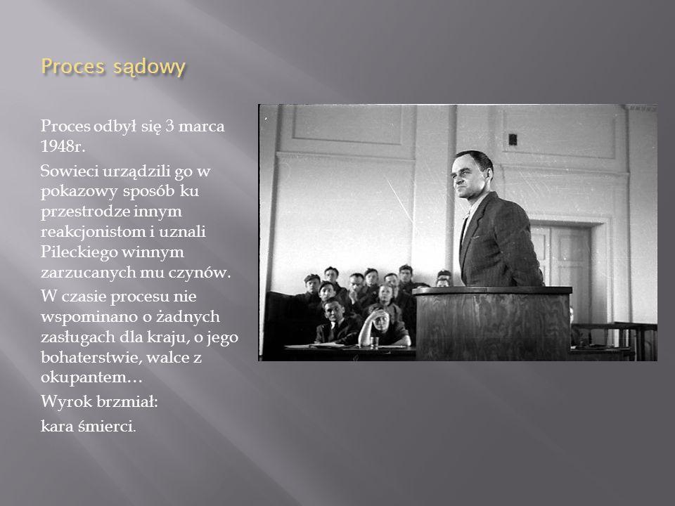 Aresztowanie 8 maja 1947 r. Pilecki został aresztowany przez Urząd Bezpieczeństwa. Osadzono go w więzieniu na Rakowieckiej. W areszcie był torturowany