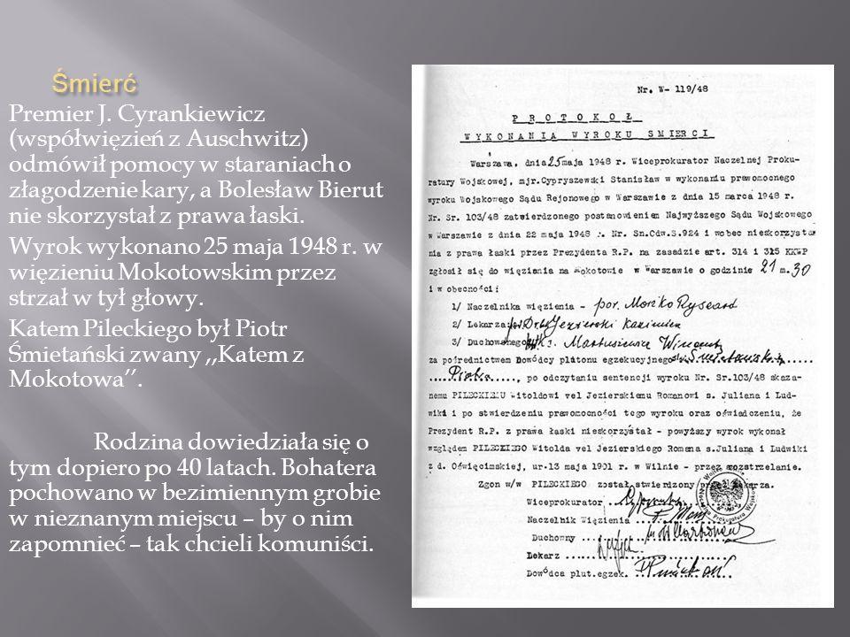 Proces s ą dowy Proces odbył się 3 marca 1948r. Sowieci urządzili go w pokazowy sposób ku przestrodze innym reakcjonistom i uznali Pileckiego winnym z