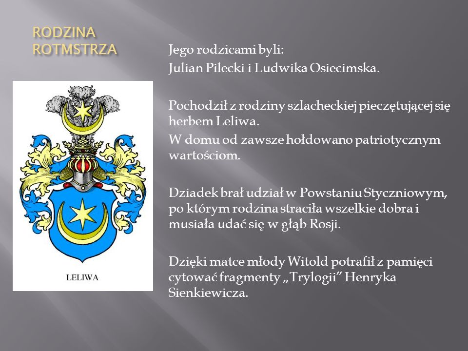 Miejsce urodzenia Witold Pilecki urodził się 13 maja 1901 r. w Ołońcu – w mieście w północno -zachodniej Rosji.