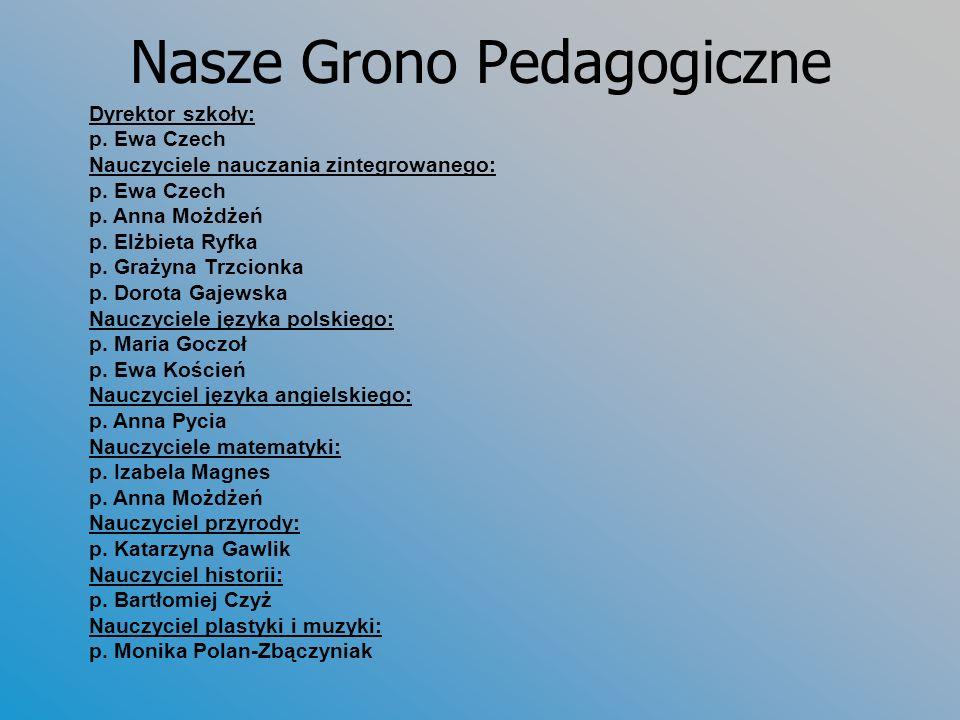 Nasze Grono Pedagogiczne Dyrektor szkoły: p.Ewa Czech Nauczyciele nauczania zintegrowanego: p.