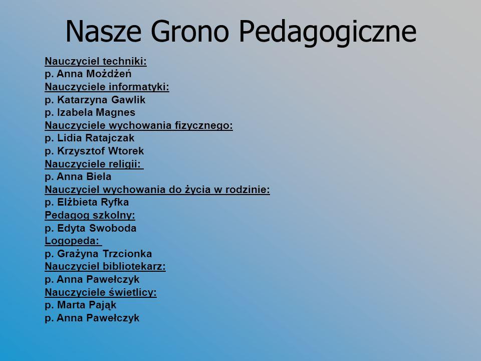 Nasze Grono Pedagogiczne Nauczyciel techniki: p. Anna Możdżeń Nauczyciele informatyki: p. Katarzyna Gawlik p. Izabela Magnes Nauczyciele wychowania fi