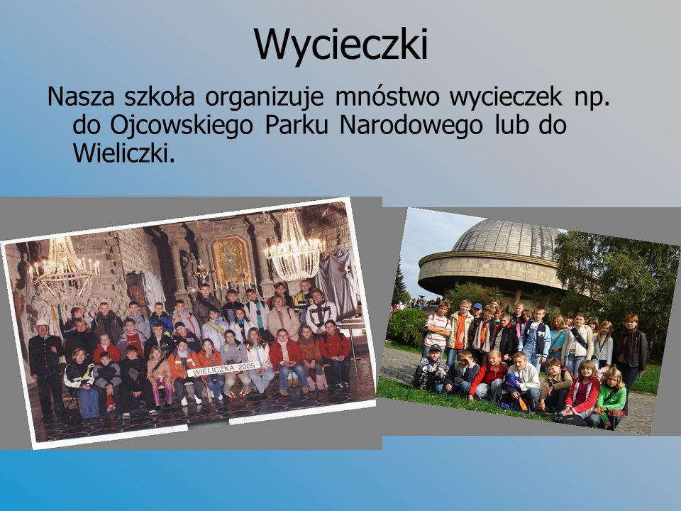 Wycieczki Nasza szkoła organizuje mnóstwo wycieczek np. do Ojcowskiego Parku Narodowego lub do Wieliczki.