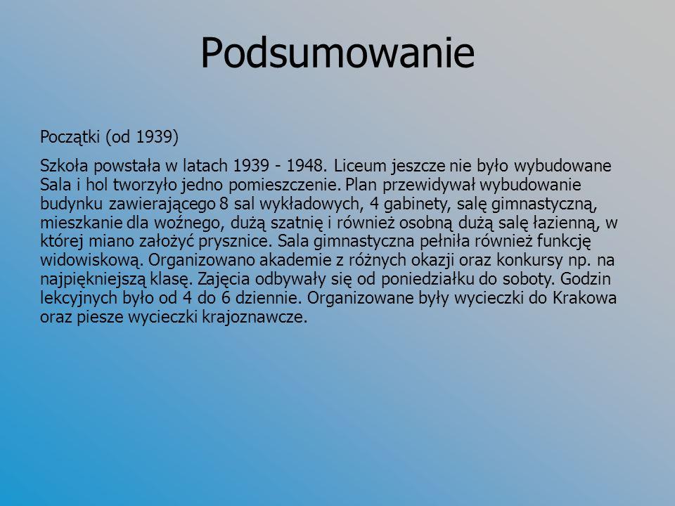 Podsumowanie Początki (od 1939) Szkoła powstała w latach 1939 - 1948.
