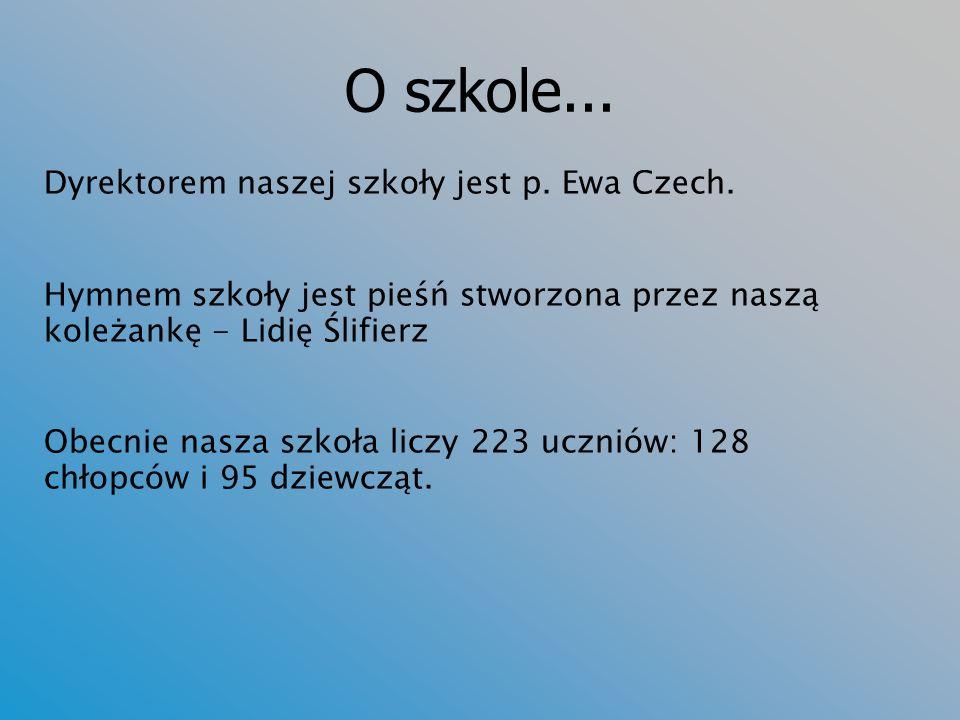 O szkole...Dyrektorem naszej szkoły jest p. Ewa Czech.