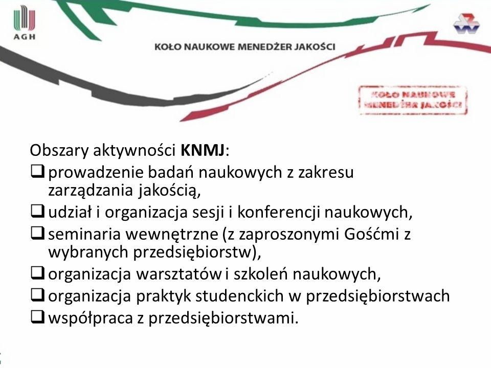 Obszary aktywności KNMJ: prowadzenie badań naukowych z zakresu zarządzania jakością, udział i organizacja sesji i konferencji naukowych, seminaria wew