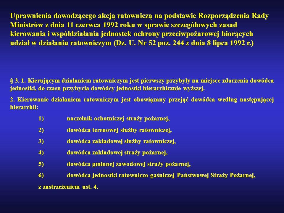 Uprawnienia dowodzącego akcją ratowniczą na podstawie Rozporządzenia Rady Ministrów z dnia 11 czerwca 1992 roku w sprawie szczegółowych zasad kierowan