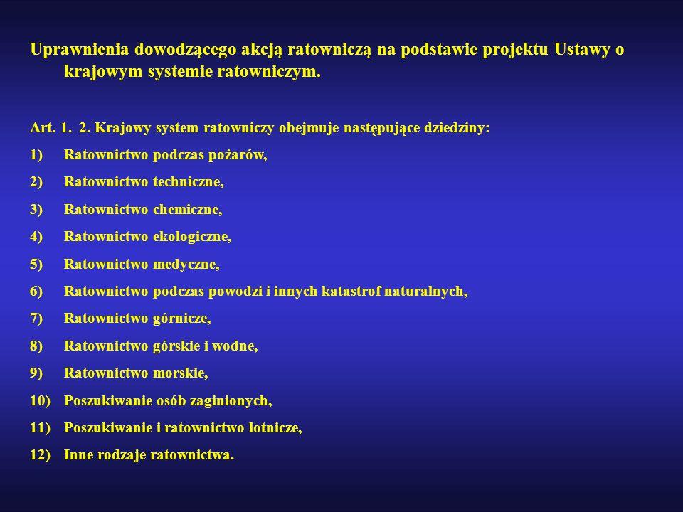 Uprawnienia dowodzącego akcją ratowniczą na podstawie projektu Ustawy o krajowym systemie ratowniczym. Art. 1. 2. Krajowy system ratowniczy obejmuje n