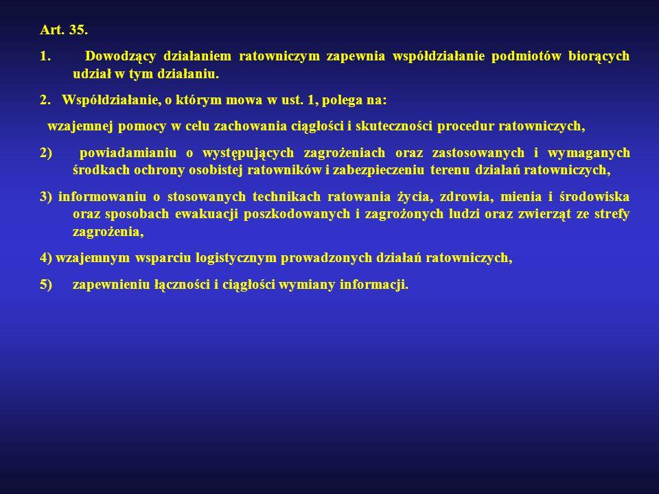 Art. 35. 1. Dowodzący działaniem ratowniczym zapewnia współdziałanie podmiotów biorących udział w tym działaniu. 2. Współdziałanie, o którym mowa w us
