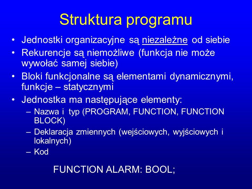 Struktura programu Jednostki organizacyjne są niezależne od siebie Rekurencje są niemożliwe (funkcja nie może wywołać samej siebie) Bloki funkcjonalne są elementami dynamicznymi, funkcje – statycznymi Jednostka ma następujące elementy: –Nazwa i typ (PROGRAM, FUNCTION, FUNCTION BLOCK) –Deklaracja zmiennych (wejściowych, wyjściowych i lokalnych) –Kod FUNCTION ALARM: BOOL;