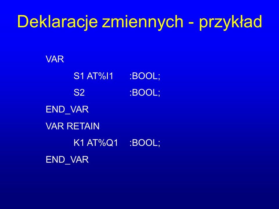 Deklaracje zmiennych - przykład VAR S1 AT%I1:BOOL; S2:BOOL; END_VAR VAR RETAIN K1 AT%Q1:BOOL; END_VAR