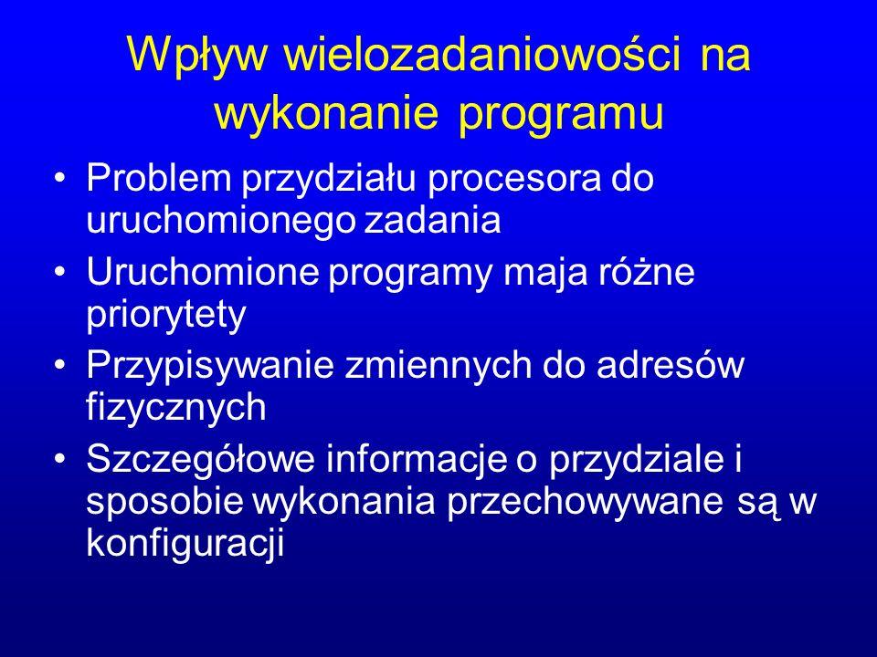 Wpływ wielozadaniowości na wykonanie programu Problem przydziału procesora do uruchomionego zadania Uruchomione programy maja różne priorytety Przypis