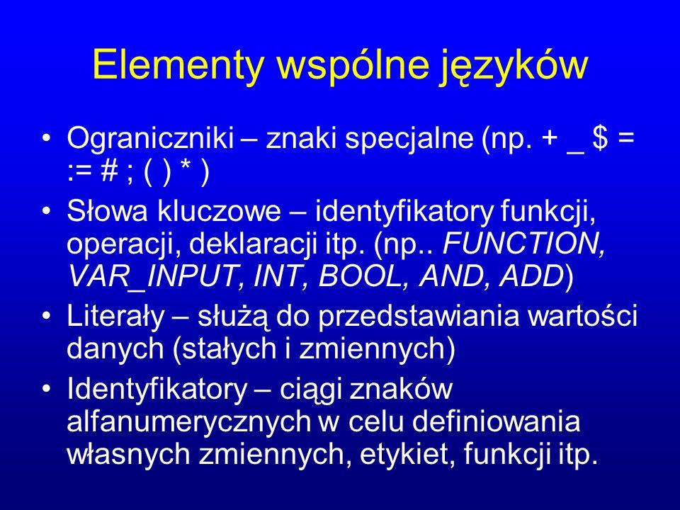 Elementy wspólne języków Ograniczniki – znaki specjalne (np. + _ $ = := # ; ( ) * ) Słowa kluczowe – identyfikatory funkcji, operacji, deklaracji itp.